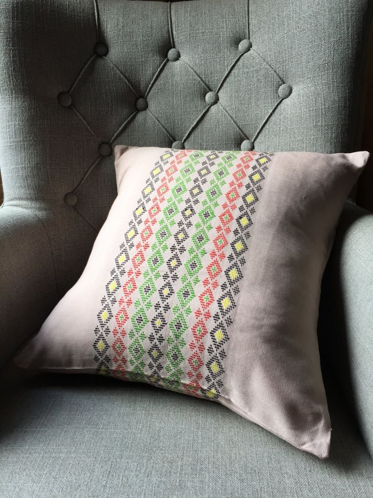 Taupe Colour Multi Colour Embroidered Cushion Cover by MizBizCushions on Etsy