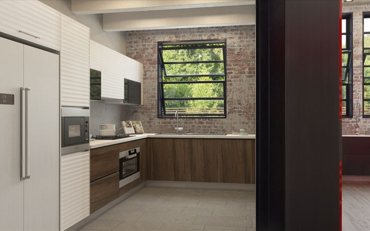 Industrial Element Wet Kitchen White Lacquer and Wood Grains