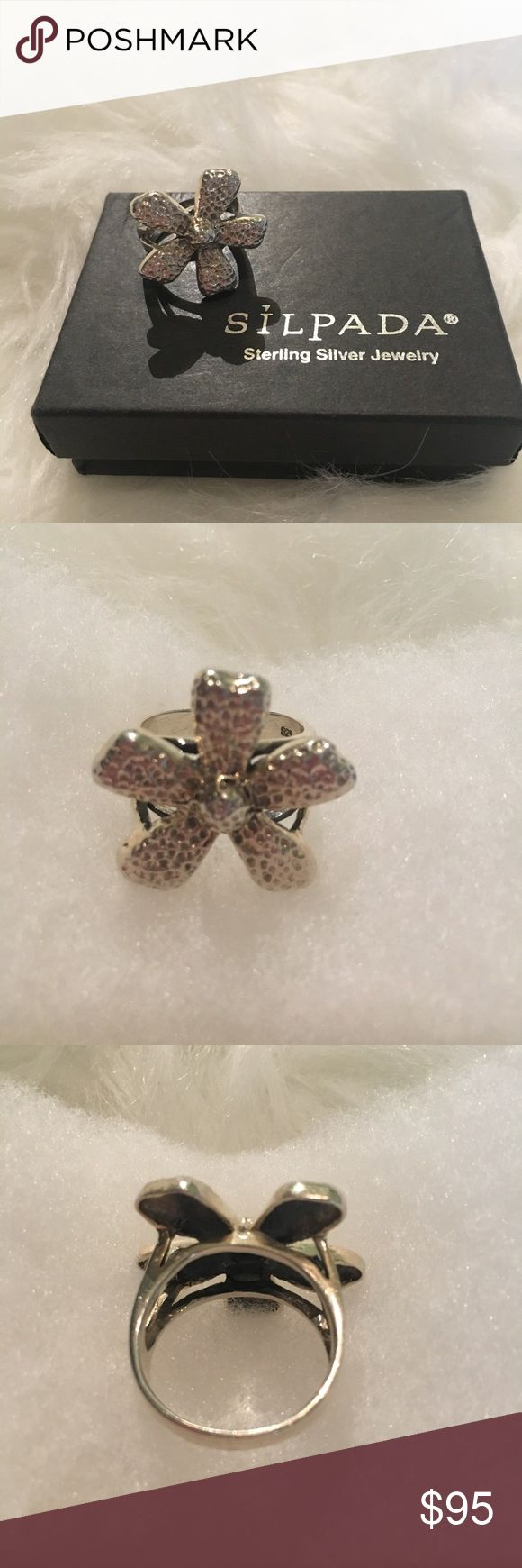 """Silpada Big Textured Daisy Flower Ring Silpada Big Textured Daisy Flower Ring.  Sterling Silver.  Size 9.  Flower measures about 1"""" in diameter.  EUC.  Retired style. Silpada Jewelry Rings"""