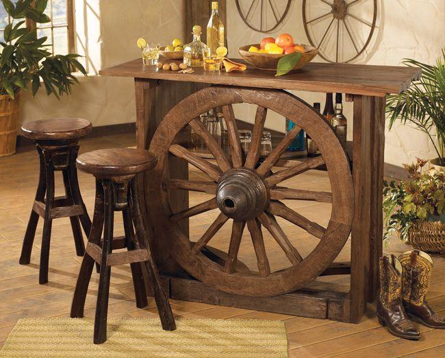 wagon wheel bar furniture wagons wagon wheels wheel barrels pinterest. Black Bedroom Furniture Sets. Home Design Ideas