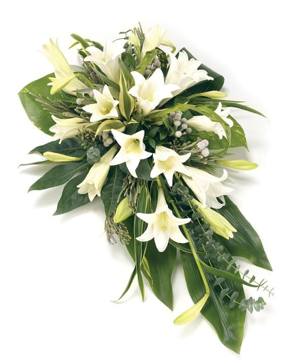 White lily funeral spray