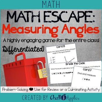 Math Escape: Measuring Angles Game - Highly engaging review or unit culminating activity for practicing measuring and drawing angles