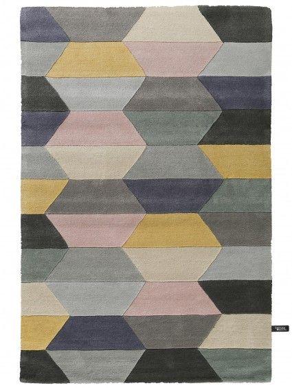 Wollteppich Funk Honeycomb Grau - modern und hochwertiger Teppich