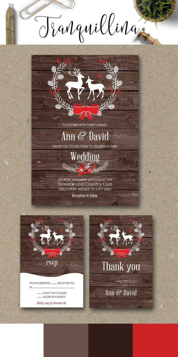 Deer Wedding Invitation, Printable Wedding Stationery Set, Digital File - Rustic Wedding Invitation, Winter Wedding Ideas, Christmas Wedding Invitations - pinned by pin4etsy.com