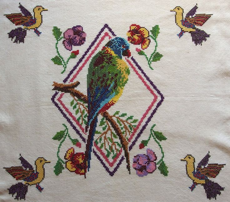 Vintage Embroidered Large Pillow cover Tablecloth Wall hanging Parrot  Birds Square Counted Cross stitch by VintageHomeStories on Etsy #Vintage #Pillow #Parrot #Birds #WallDecor #WallHanging #embroidery