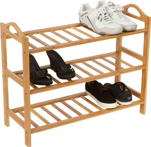 100% Natural Bamboo 3 Shelves Shoe Rack