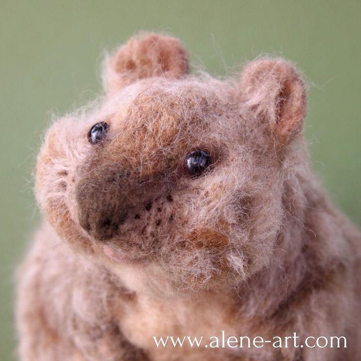 Closeup of my #needlefelt #quokka   #felt #animals #craft #sculpture #needlefelting #felting #cute #happy #plush #toy #ooak #smile #art #softsculpture #australia #rottnest #rottnestisland #icwest #brown #marsupial by alene.art http://ift.tt/1L5GqLp