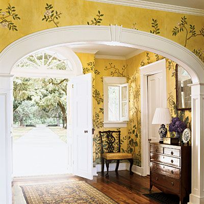 Add a touch of sunshine.Decor, Yellow Wall, Country House, Wallpaper, Wall Treatments, Homes, Southern Accent, Room, French Style
