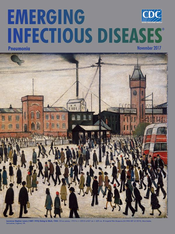 EID's Nov. cover art is by English artist Laurence Stephen Lowry, who died of pneumonia in 1976. About 5 months after, an outbreak of a new type of pneumonia, Legionnaires' disease, occurred at an American Legion convention in Pennsylvania, USA. Viruses, bacteria, and fungi can cause pneumonia. Despite vaccines, antibiotics, and respiratory care, pneumonia continues to affect hundreds of millions of people of all ages in all parts of the world. Online now.