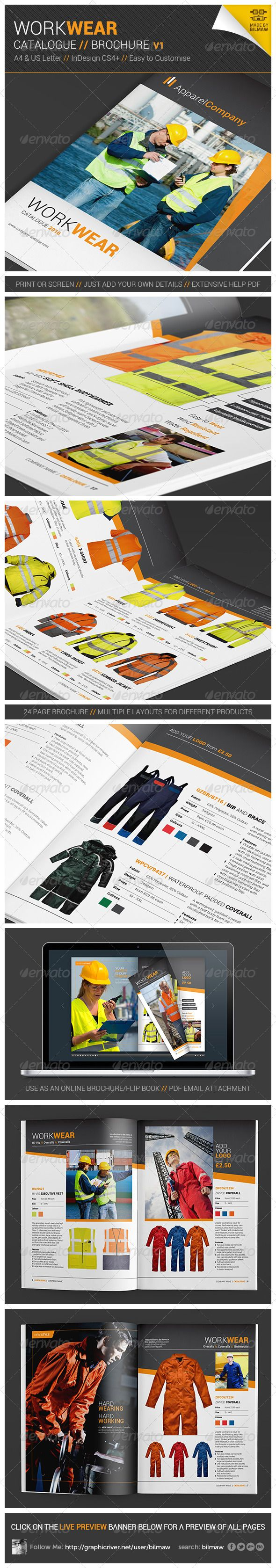 Workwear Catalogue/Brochure V1   24 page workwear catalogue or brochure with various different layouts for multiple types of products. Editable template