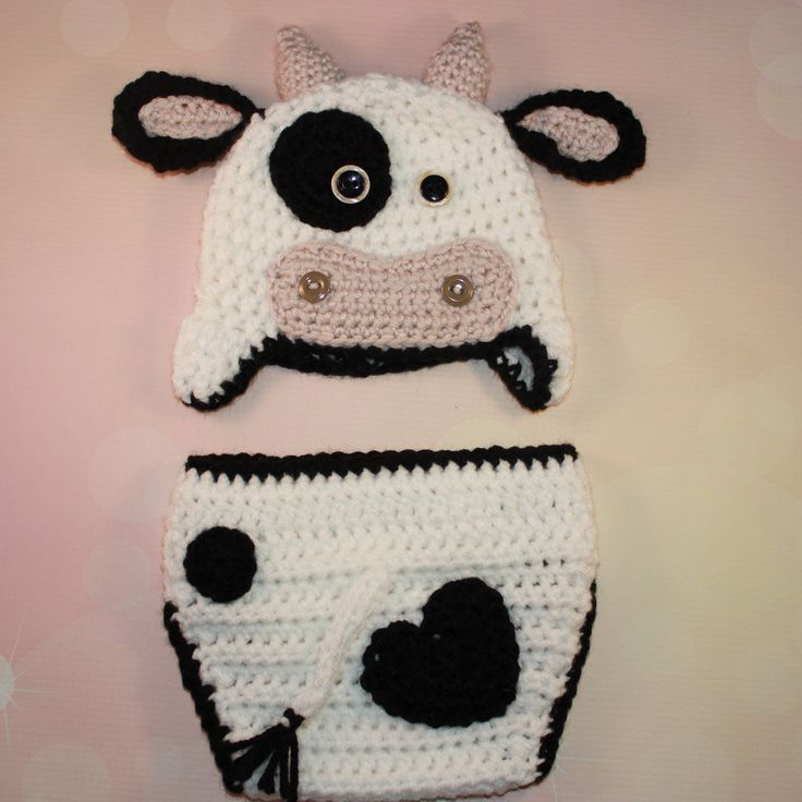 Cow Crochet Baby Outfit with Hat and Diaper Cover - Newborn Photo Prop, Baby Halloween Costume #babydiapercover