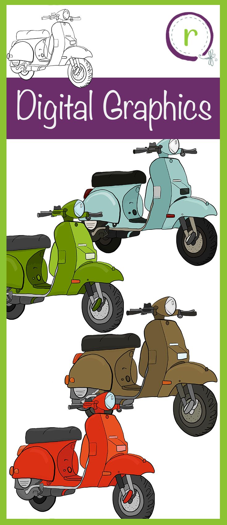 Six different moped bike graphics. Great for transportation and art. Retro or hipster! Fun graphics that will be great on scrapbook pages, cards, tags, labels, bulletin boards, name tags, and more. T-shirt graphics, embroidery files, letterpress images.