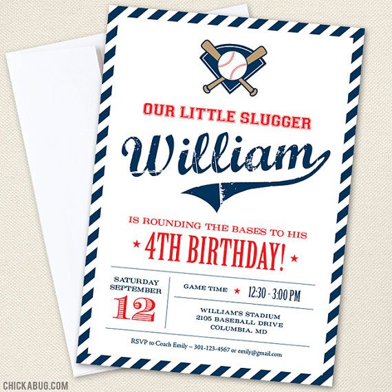 Baseball Party by Chickabug { Professionally printed *or* DIY printable invitations }  Your little slugger will love having a baseball theme party! : ) More items (both printed items and DIY printables) are available in this theme: www.etsy.com/shop/Chickabug/search?search_query=baseball+-football  This listing is for gorgeous party invitations that we will personalize with your choice of text.  → WE PRINT AND SHIP! Select a quantity using the Printed or DIY dropdown menu...