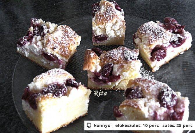 Túrós-meggyes-joghurtos süti
