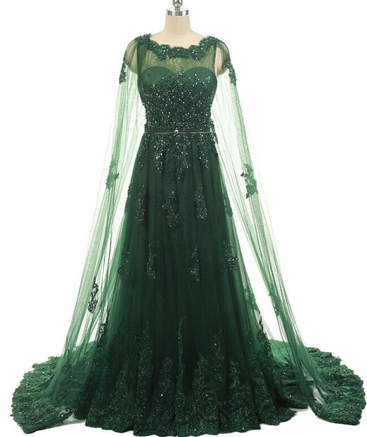 Elegant Women Formal Evening Gowns Dresses Beaded Lace Prom Dresses With Long Appliques Tulle Cape Emerald Green Evening Dress