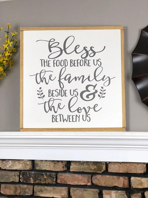 Bless The Food Before Us Wood Sign Large Farmhouse Sign Living Room Wall Decor 24x24 Wood Sign Dinin Living Room Decor Rustic Area Rug Decor Bless The Food