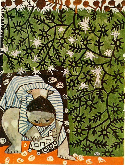 Picasso - child playing amongst camomile plants