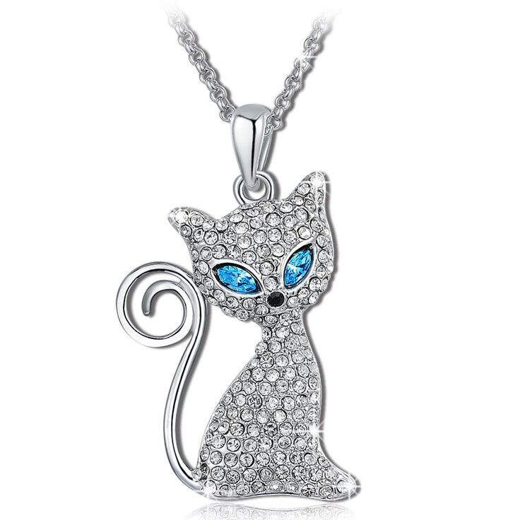 Christmas Gift Sapphire Blue Crystals Cat Charm Pendant Necklaces for women White Gold Plated Animal Jewelry: