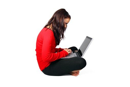 Computer, Female, Girl, Isolated