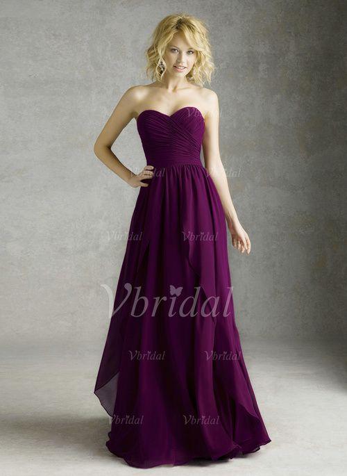 Bridesmaid Dresses - $69.00 - A-Line/Princess Strapless Sweetheart Floor-Length Chiffon Bridesmaid Dress With Ruffle (0075057458)