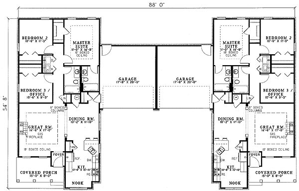Plan 59323ND: Beautifully Combined Duplex  ~ Great pin! For Oahu architectural design visit http://ownerbuiltdesign.com