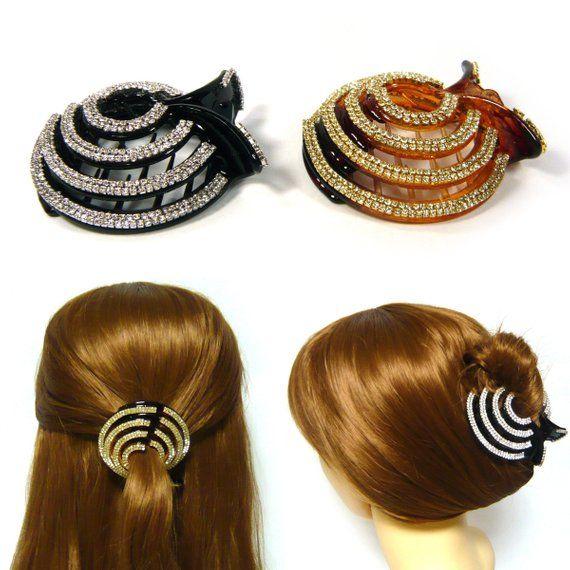 Sparkle Crystal Rhinestone Beaded Ball Long Black Plastic Hair Jewelry Stick Pick Clip Pin Women Lady Girl Elegant Fashion Accessory Gift