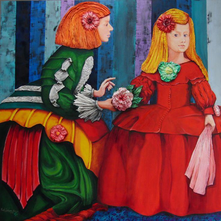 Flores en Velazquez I (2013) Oil on Canvas / Mixed Technique 150x150 cm www.maiterodriguez.es