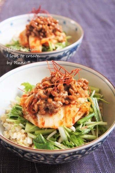 ランチに♪水菜ナムルとキムチの納豆玄米丼♪ by Runeさん | レシピ ...