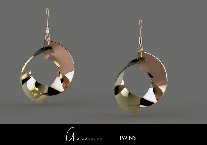 Twins-orecchino placcato - Grafcodesign-oggetti di design innovativi ed originali-vendita on line