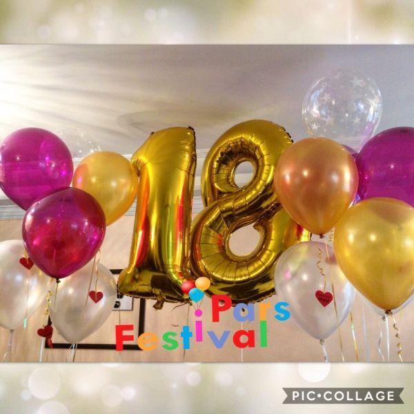 18 Gold Foil Balloon بادکنک فویلی عدد برای تولد 18 سالگی Hoop Earrings Earrings Jewelry