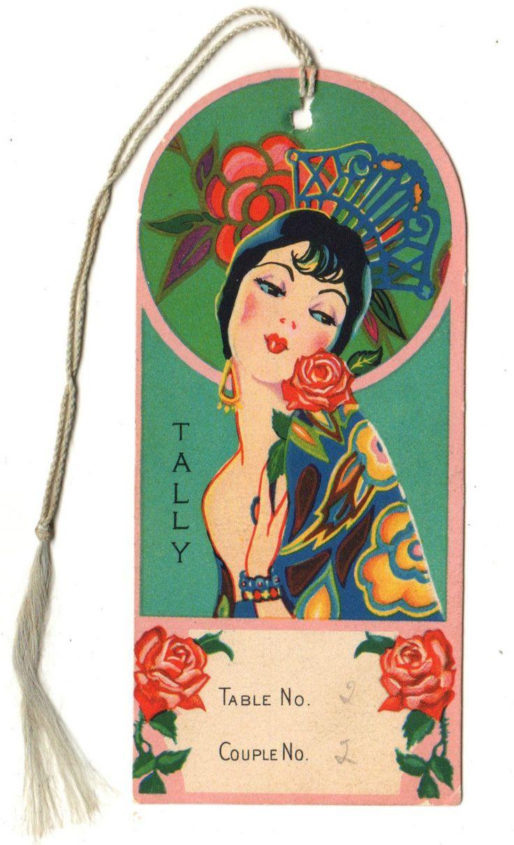 1940's Vtg Art Deco Bridge Card Game Tally with Beautiful Lady Spanish Senorita | eBay
