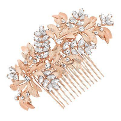 No. 1 Jenny Packham Designer rose gold crystal leaf hair comb | Debenhams