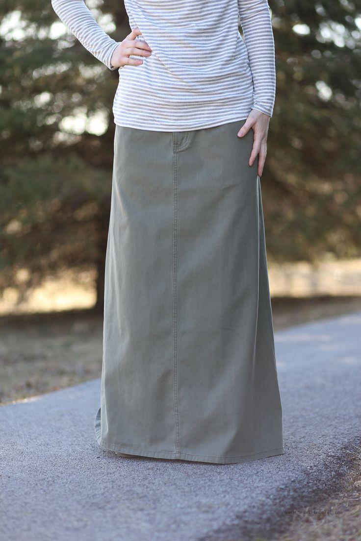 Classy Olive Long Jean Skirt | Sizes 8-18