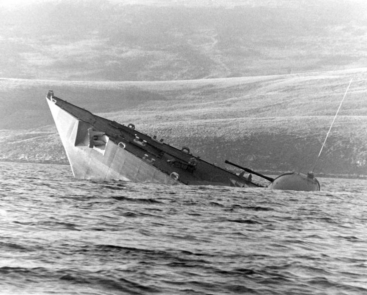 HMS Antelope sinks during the Falkland's war