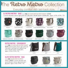 Thirty One Retro Metro Collection! You can get all of these new ...Thirty one fall colors! Are here ask me about all the hostess special we are having and all the free stuff you could get just for having a party!  You don't even have to have anyone come to your house. Interested contact me @ Mythirtyone.com/413002 or miyo36@yahoo.com thanks Katherine