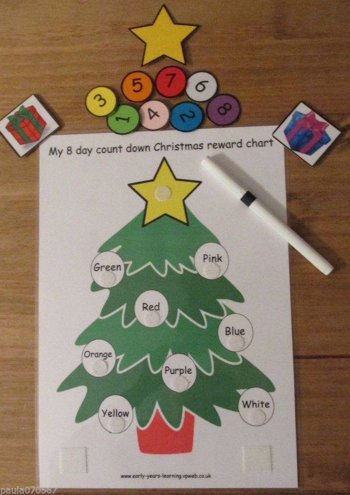 Reward charts~Christmas count down~Promote good behaviour~ colour boards~cards