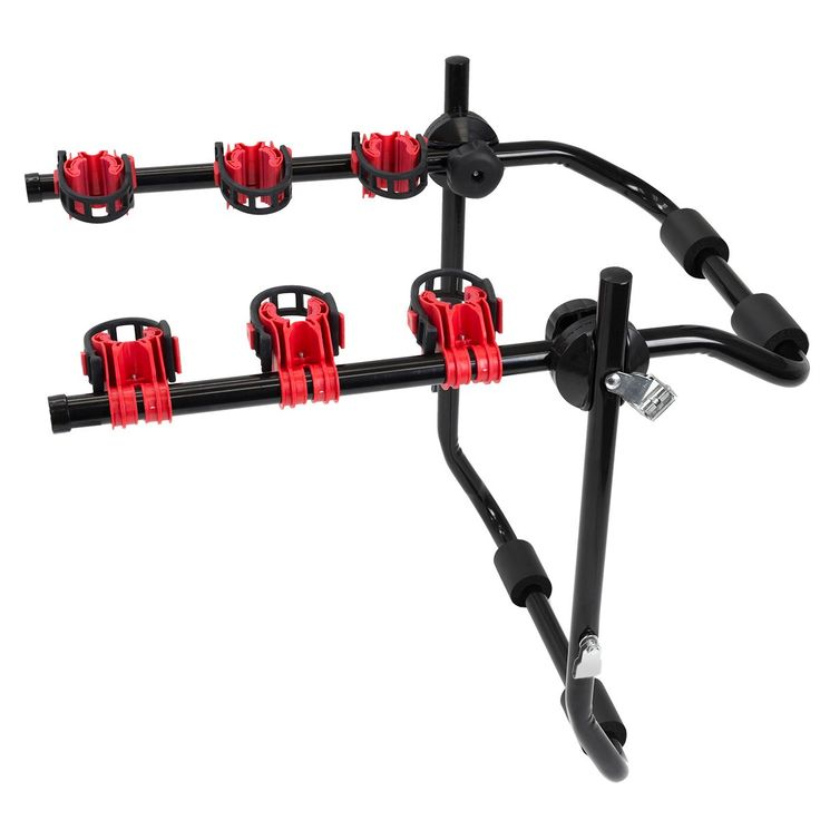 Stark Bike Rack 3 Trunk Hatchback for SUV Car Carrier Sport Bicycle. The bike trunk is ideal for carrying bicycles to car and SUV. Six Straps to buckle the carrier's frame and hook onto vehicle. Ideal to protect bikes by padding on the bike rack. Adjustable cradle arms. Bicycle Capacity: 3; Weight Capacity: 90Lbs.