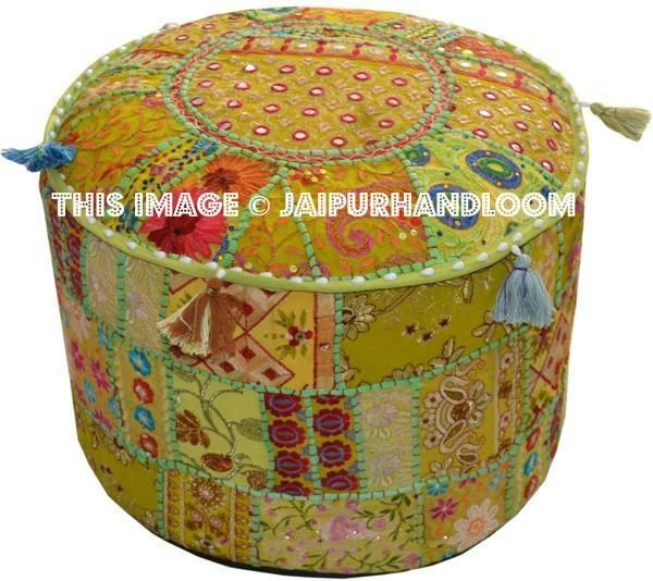 Coffs Poufs - 18X13 inches #pouf #ottoman #ikeapouf #handmadepouf #patchworkpouf #Beanbag #footstool #daydogbed #indianpouf #embroideredpouf #vintagepouf