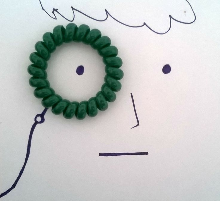 Creative illustrations. A rubber band for an eyeglass.