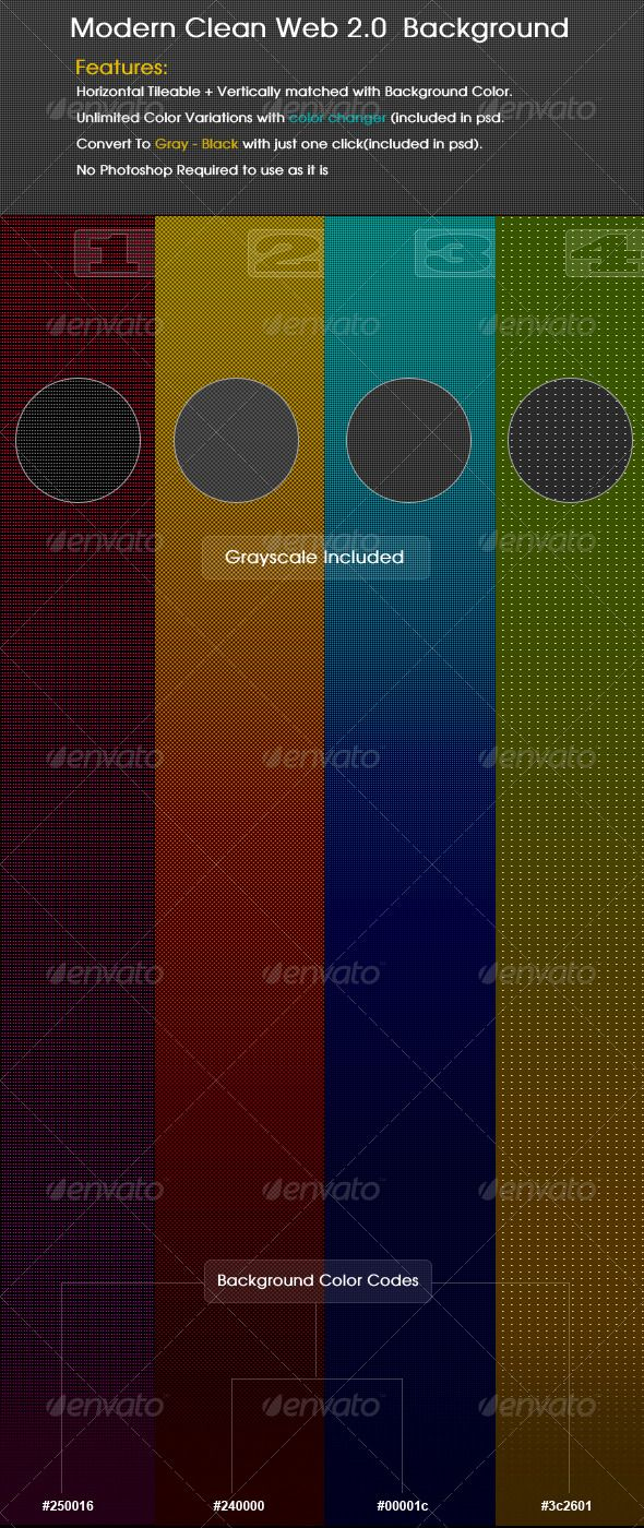 Features: 1. Horizontal Tileable + Vertically matched with Background Color. 2. Unlimited Color Variations with color changer (included in psd. 3. Convert To Grayscale with just one click(included in psd). 4. No Photoshop Required to use as it is