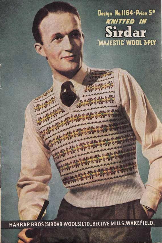 1940s knitting pattern. It seems that sweater vests were popular.