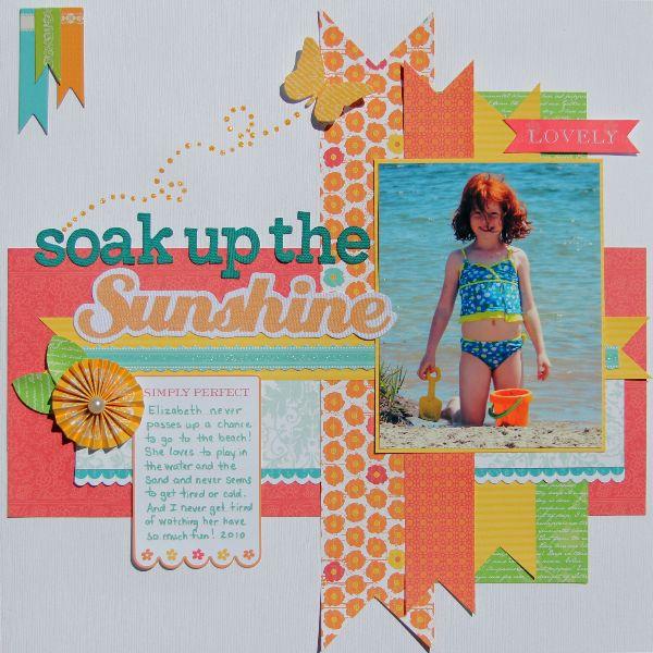 soak up the sunshine  birdsofafeather summer scrapbook layout