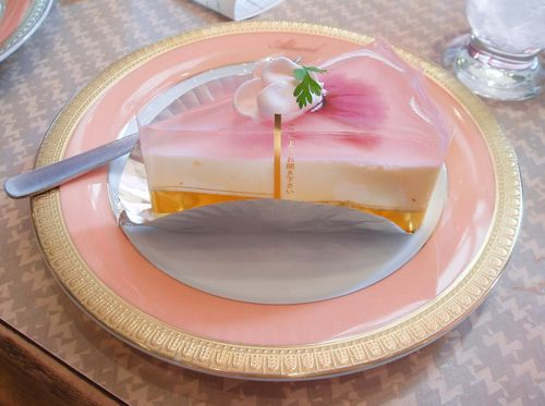 Sakura  Cake  This is one of the most beautifully  dainty cakes I have ever seen - a whole cherry blossom flower is set in  very light pink jelly. The jelly has a faint sweet floral taste and  slightly fragrant.