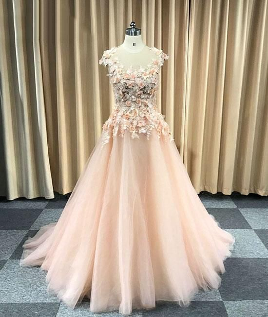 9bc73562144 Pink round neck tulle lace applique long prom dress