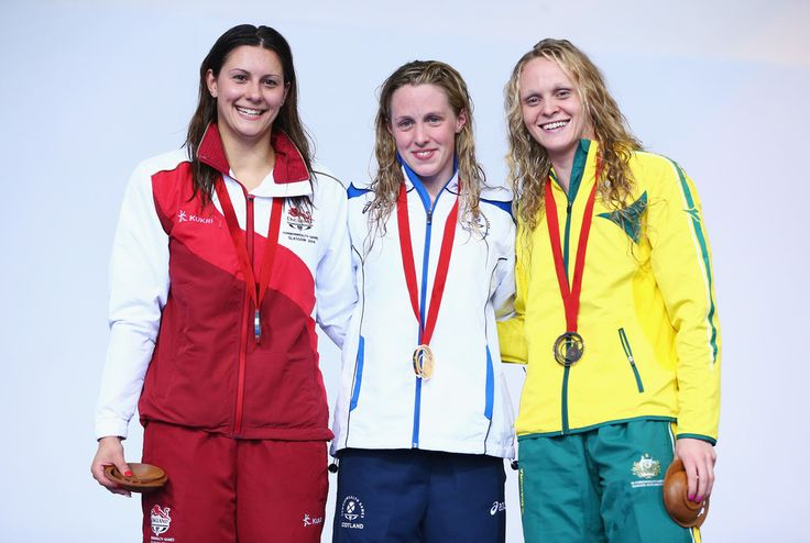 2014 Commonwealth Games gold medallist Hannah Miley (C) of Scotland poses with Silver medallist Aimee Willmott (L) of England and Bronze medallist Keryn McMaster of Australia
