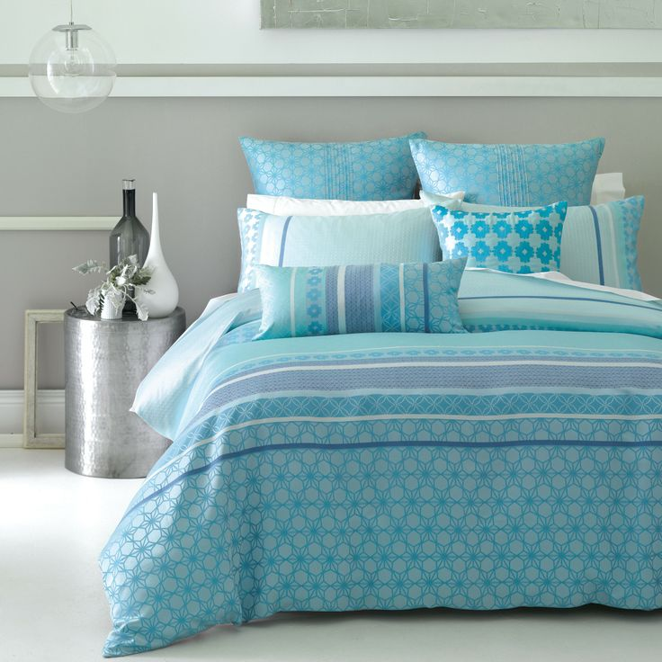 Gemma Aqua Quilt Cover Set by Deco - matched with sheets in the colour of the dark stripe