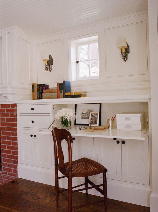 Tim Barber - living rooms - built-in desk, fireplace, built in desk, built in office desk,  Fantastic built-in desk flanking brick fireplace.