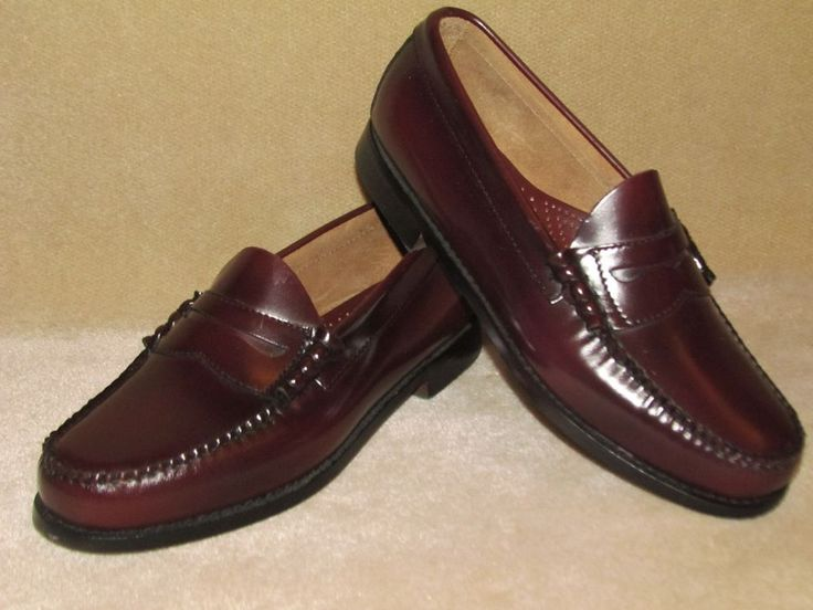 Men's Bass Slip on Larson Weejuns  Leather sz 9 EEE  Burgundy Penny Loafers #Bass #LoafersSlipOns