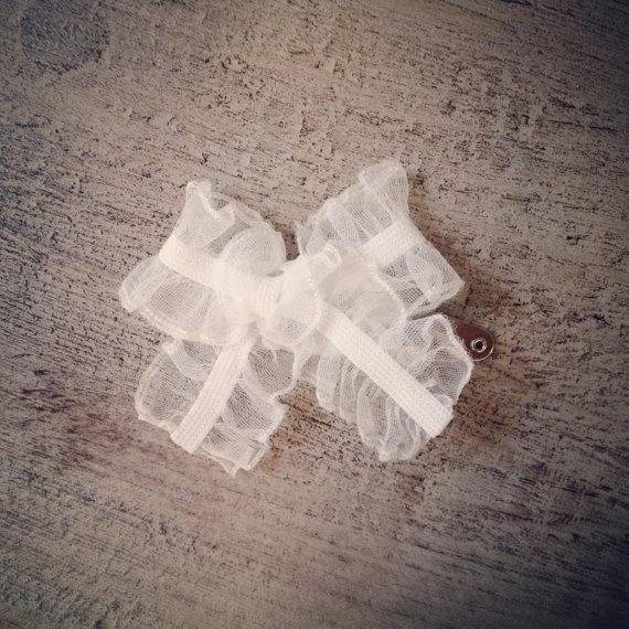 White Ruffled Bow Hair Clip by dandeliondustb on Etsy, $3.00