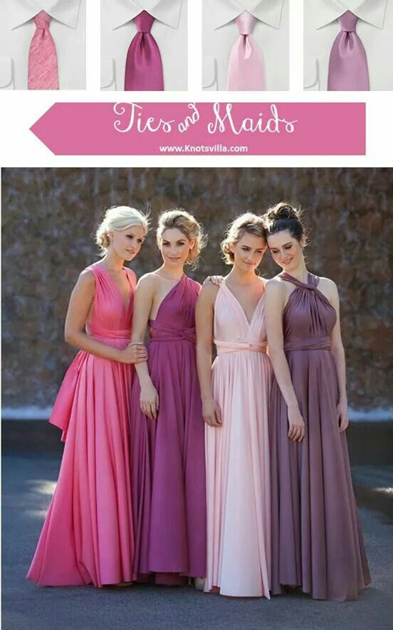Matching bridesmaids dresses with groomsmen ties